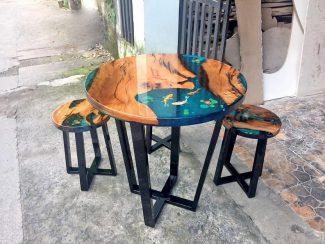 Стол из слэба дерева со стульями - 6