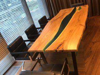 Офисный стол из спила дерева -7